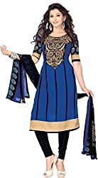 SDM Women's Crepe Printed Dress Material Unstitched (4217, Blue, Free Size)