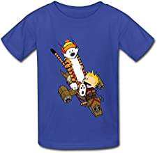 Big Boys39 And Girls39 age 7-16 Tiger Calvin And Hobbes 100 Cotton T Shirt