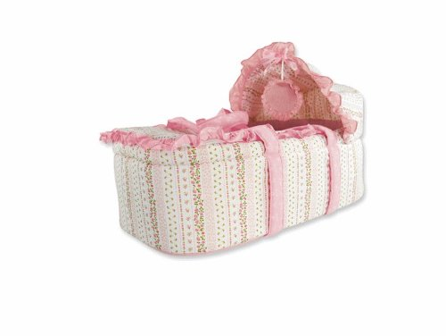Moses Basket with Removable Hood, Hanging Mobile and Changing Pad - Vintage Pink Stripe Pattern