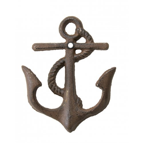 Cast Iron Nautical Anchor Hook ~ Rustic Brown front-460625