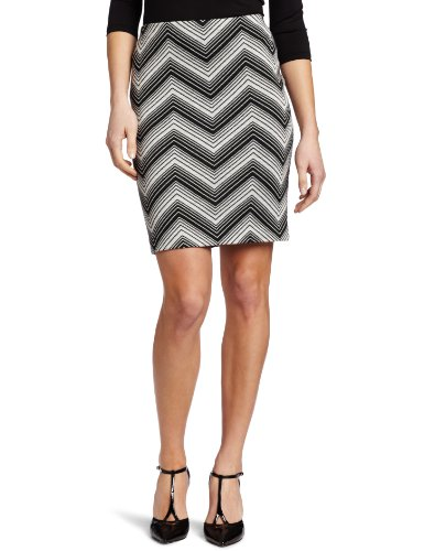 Karen Kane Women's Zig Zag Pencil Skirt, Black/Off-White, Large Image