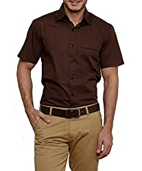 Dazzio Men's Slim Fit Cotton Casual Shirt (DZSH0911_Chocolate_38)