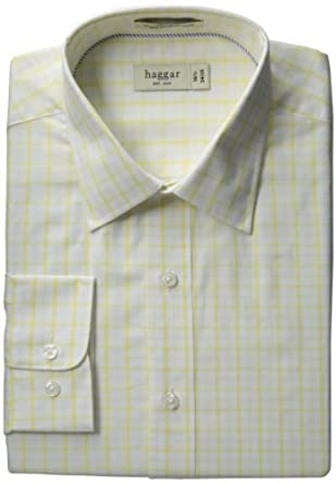 Haggar Men's Regular Fit Poplin Long Sleeve Pattern Dress Shirt, Light Yellow, 14.5(32/33)
