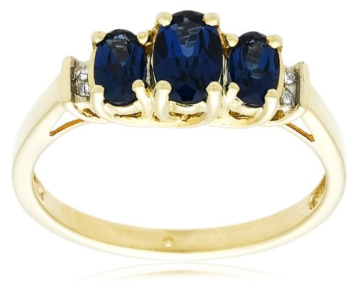 10k Yellow Gold September Birthstone 3-Stone Created Sapphire with Diamond-Accent Ring, Size 7