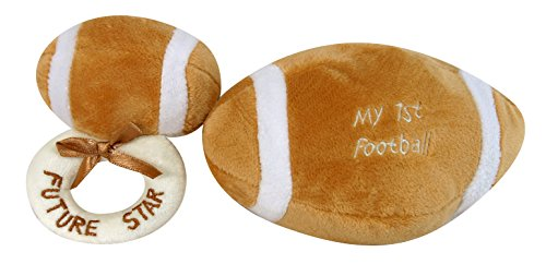 Stephan Baby Sports Fun Ultra Soft Plush My First Ball and Plush Rattle Ring Set, Football - 1