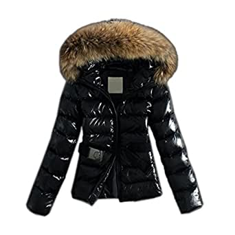 elegante damen winterjacke warme mantel steppjacke parka mit hochwertigem kunst fellkapuze. Black Bedroom Furniture Sets. Home Design Ideas