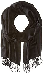 Betsey Johnson Women's Cashmere/Silk Real Pashmina Black Scarf One Size