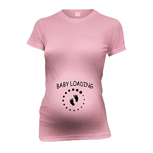 Baby Loading Baby Feet New Mom Funny Maternity T-Shirt Tee Shirt Top Baby Shower Gift Soft Pink M front-613937