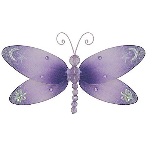 "The Butterfly Grove Dakota Dragonfly 3D Hanging Mesh Nylon Decor, Purple Wisteria, Small, 7"" x 4"""