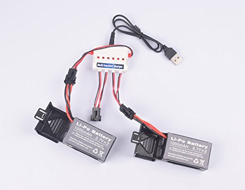 Youcute 2pcs 3.7v 1000mah Official Battery and 1to3 Charger for Udi U842