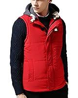 HZMK Men's Outdoor Puffer Vest With Detachable Fleece Hood
