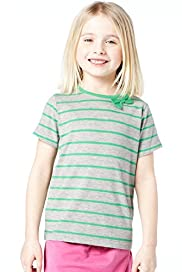 Cotton Rich Striped Bow T-Shirt
