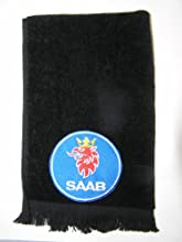 Saab auto golf towel black vintage applique automobile