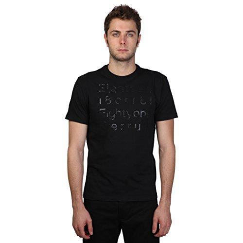 Cerruti 1881 - T-Shirt 100% cotone maniche corte fatasia parole - Uomo (L) (Nero)