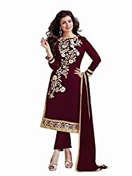 Shreenath Creation Women's Chanderi Cotton Long Salwar Suit Dress Material (Dreamgirl039_Navy Blue)