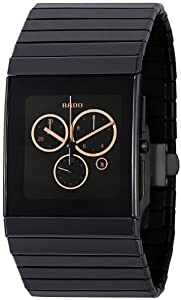 Rado Men's R21714172 Ceramica Black Rose-tone Subdial Watch
