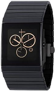 Rado Men's R21714172 Ceramica Black Rose-tone Subdial Watch