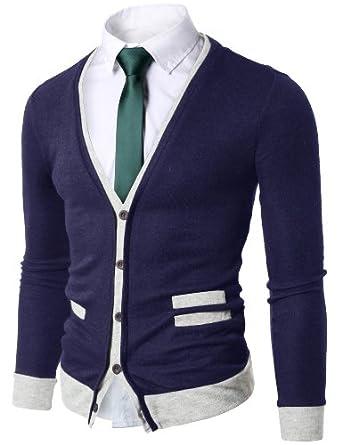 Doublju Mens Sweater Cardigan with Pocket Detail NAVY (US-M)
