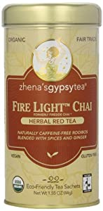 Zhena's Gypsy Tea,Herbal Red Tea Fire Light Chai, 22 Count Tea Sachets Net Wt 1.55 Ounce