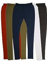 Vimal Womens Cotton Blended Churidhar Leggings Pack Of 5