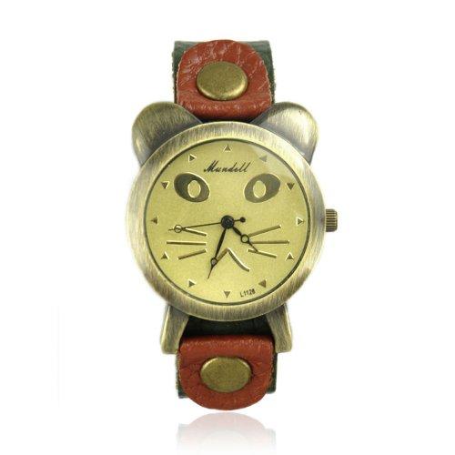 ZLYC 90's Girl Women Retro Vintage Fashion Cat Face Leather Wrist Watch image