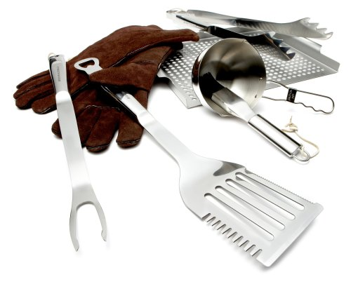 Strathwood 8-Piece Stainless Steel BBQ Tool Set with Leather Gloves