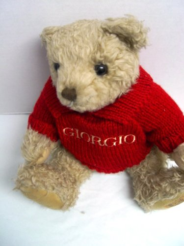 "1995 Giorgio Beverly Hills Teddy Bear Collectible in Red Knit Sweater 13"" Tall - 1"