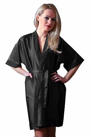 Ninex Luxury Nightwear Satin Dressing Gown Robe Kimono - Various Colors Black S