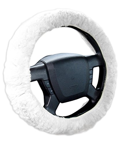 Zone Tech Luxurious Non-slip Car Decoration Steering Wheel Plush Cover - White Authentic Sheepskin Thermal Steering Wheel Cover (Boss Hydraulic Oil compare prices)