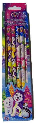 Lisa Frank Set of 6 #2 Real Wood Lead Pencils ~ Polar Pals (3 Wolves with Penguins, 3 Polar Bears with Penguins) - 1