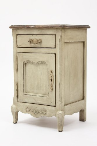 French Country Left Side Nightstand (Solid Pine Wood, Painted & Distressed Antique Beige)