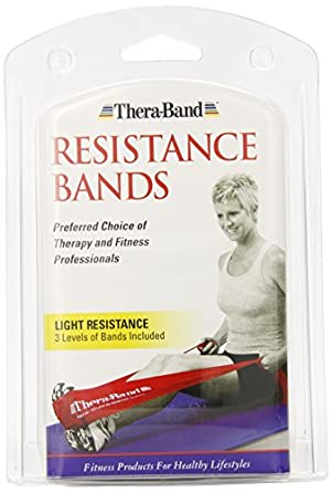 Thera-Band Light Set of 3 - 5FT Latex Resistance Exercise Bands Yellow, Red & Green - Polybag