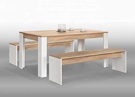 3-tlg. Tischgruppe Esstischgruppe Esstisch Sitzbank MARA