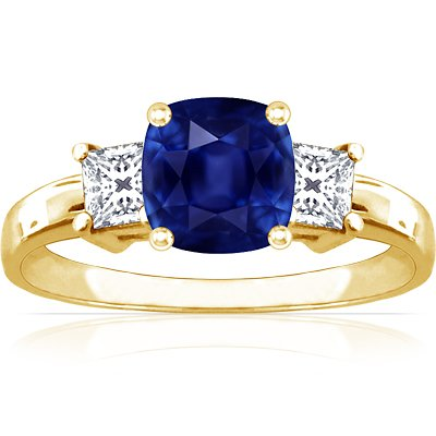 18K Yellow Gold Cushion Cut Blue Sapphire Three Stone Ring