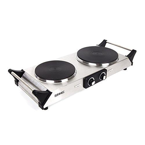 Duronic HP2SS - Piano cottura con due piastre elettriche in acciaio inossidabile (1500W & 1000W) con maniglie