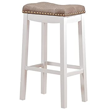 Angel Line Cambridge Padded Saddle Stool, White with Tan Cushion, 29