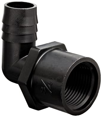 Thogus Polypropylene Tube Fitting, 90 Degree Elbow, Black, NPT Female x Barbed