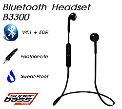 Gadget Hero's Sports Wireless Bluetooth Headset Headphone Earphone For Apple iPhone Samsung & Other Mobile Phone PC Tablet B3300 Black