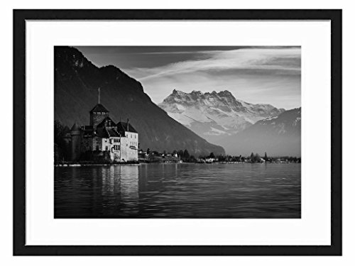Tcrying Switzerland Lake - Art Print Wall Black Wood Grain Wall Art Picture 20x14 Inches Framed (License Plate Frame Motivational compare prices)