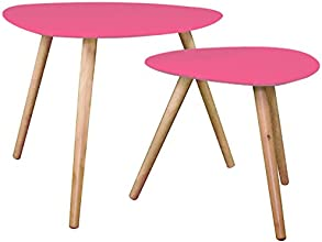 ATMOSPHERA - Tables Basses Gigognes - Set de 2 - Fushia - PM: H40x40x40cm / GM: H48x60x60cm