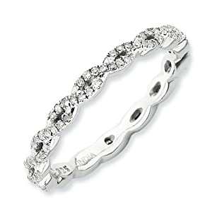 IceCarats Designer Jewelry Size 5 Sterling Silver Stackable Expressions Polished Diamond Ring