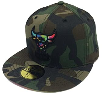 NBA Chicago Bulls New Era Woodland Camo Color Swirl Fitted Hat by New Era