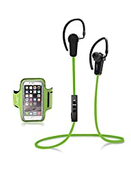 Jarv NMotion Wireless Bluetooth 4.0 Stereo Earbuds with Universal Sports Armband - Green