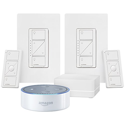 White Echo Dot + Caseta Wireless Deluxe Smart Lighting Control Kit (Amazon Echo Speaker compare prices)