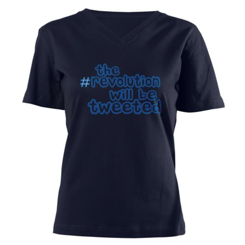 Twitter Revolution Women's V-Neck Dark T-Shirt by CafePress – L Navy