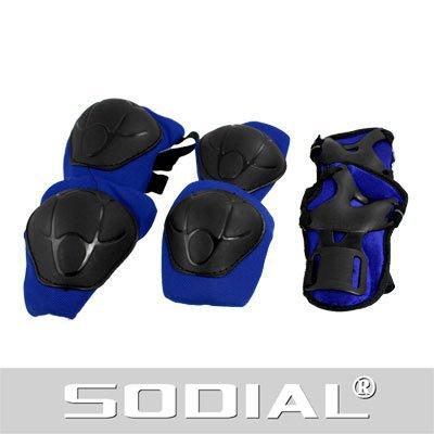 SODIAL(R) Kit protezione per ginocchia gomiti polsi pattini in linea ginocchiere gomitiere e polsiere blu e nero per bambini