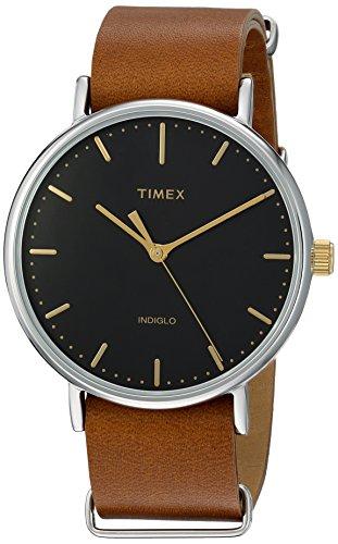 timex-unisex-tw2p97900-fairfield-41-brown-leather-slip-thru-strap-watch