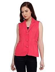 Oxolloxo Women Pink Sleeveless Blazer