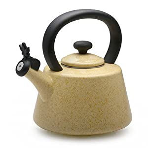 Paula Deen Signature Teakettles 2-Quart Enamel on Steel Whistling Kettle, Butter Speckle