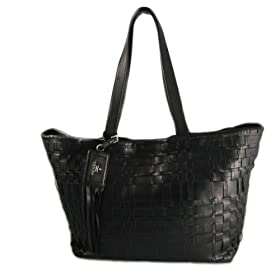 Prada Handbags (Black) Basketwoven Leather Tote BR3882